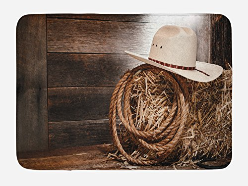 Ambesonne Western Bath Mat, American West Rodeo Hat Traditional Ranching Robe on Wooden Ground Folk Art Photo, Plush Bathroom Decor Mat with Non Slip Backing, 29.5