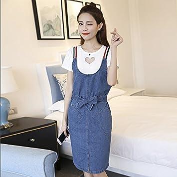 d6931493c TXD Clothing La versión Coreana de la Elegante Verano Vestidos Femeninos  Correa Vaquero Falda Vestuario Relajado