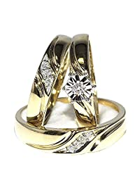 His and Her Trio Wedding Rings Set 10K Yellow Gold 0.12cttw (I/j Color 0.12cttw)