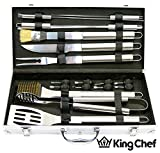 Insane Sale – King Chef Best 18 Piece Stainless Steel BBQ Grill Tool Set With Aluminum Storage Case by Pijio