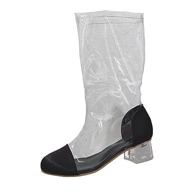 6f74c60bd528b DENER Women Ladies Girls Ankle Boots, Knee High Heel Waterproof Wide ...
