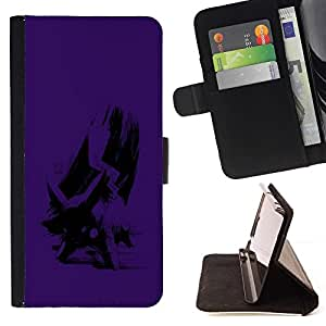 DEVIL CASE - FOR Sony Xperia Z1 Compact D5503 - Purple Poke - Style PU Leather Case Wallet Flip Stand Flap Closure Cover
