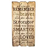 Always Remember You Are Stronger Braver Smarter 12 x 6 Decorative Wall Art Sign Plaque