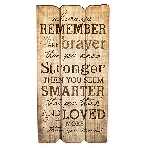 P. Graham Dunn Remember Stronger Braver Smarter 12 x 6 Small Fence Post Wood Look Decorative Sign Plaque