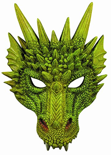 Dragon Costumes For Adults (New Green Dragon Adult Dinosaur Latex Half Mask 79489)