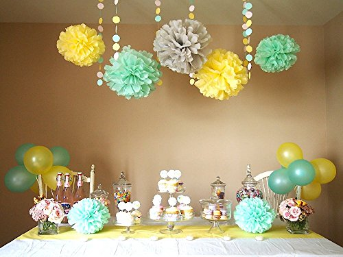 Sogorge 19 Piece Mixed Mint Green Yellow Grey 8'' 10'' 12' Tissue Paper Pom Poms Flower with Latex Balloons Wedding Party Baby Girl Room Nursery -