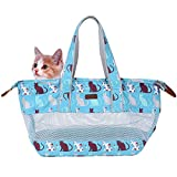 Petacc Canvas Pet Carrier Portable Pet Travel Carrier Durable Cross-body Dog Carrier Bag with Breathable Mesh Cloth, Suitable for Travelling, Shopping and Outdoor Activities