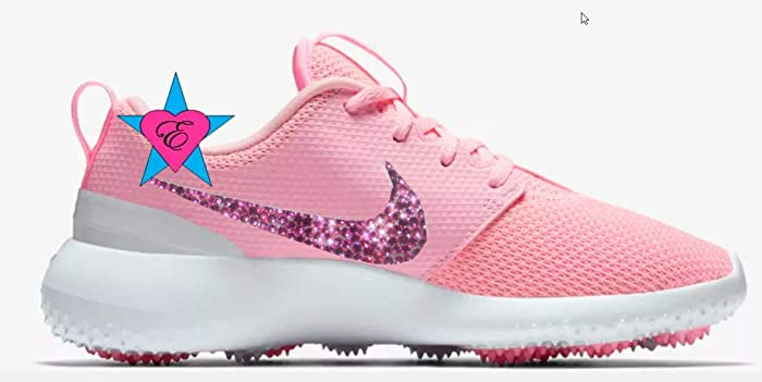 the best attitude 9d043 daf30 Amazon.com  Custom Crystal Bedazzled Women pink Nike Roshe Golf  Handmade