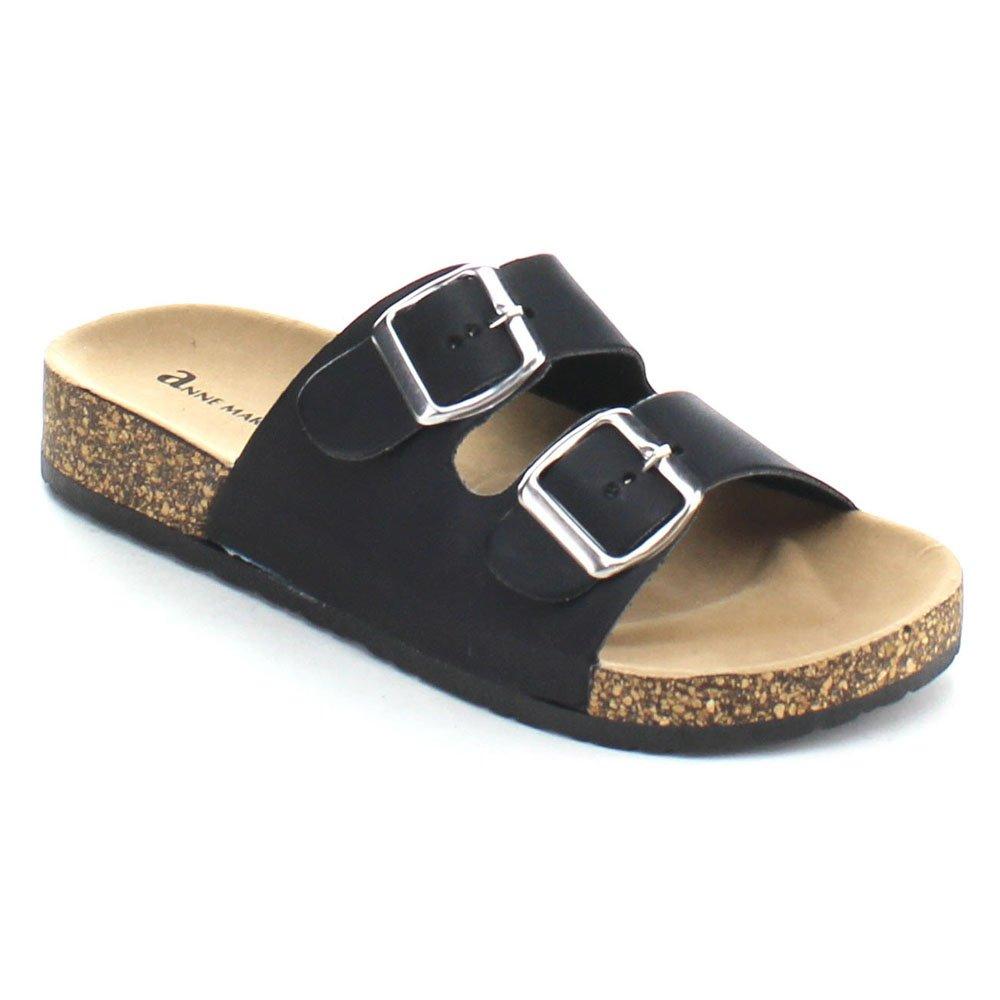 0792e71ff042 Anne marie glory women fashion comfy buckled cork sole two strap slides  sandal color black size