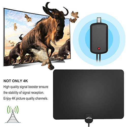 [2018 Newest] HD Digital TV Antenna, 60+ Miles Amplified Indoor TV Antenna – Support 4K 1080p with Amplifier Signal Booster & Power Adapter Black by BESTHING (Image #1)