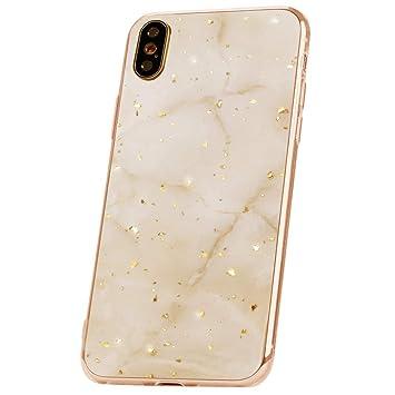 QULT Carcasa para Móvil Compatible con iPhone XR Funda marmol Oro Blanco Silicona Flexible Bumper Teléfono Caso para iPhone XR Marble Gold White
