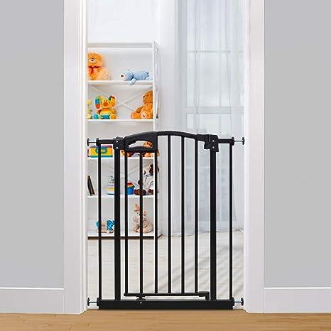 Callowesse Carusi Puerta de seguridad de escalera estrecha 63-70cm - Negro. Cierre automático, puerta de bebé de calidad ajustada a presión. No se requieren herramientas.: Amazon.es: Bebé