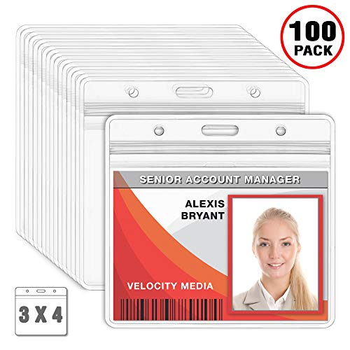 MIFFLIN Large Horizontal Badge Holder, Waterproof Plastic Card Holders (Clear, 3x4 inches, 100 Pack) ()