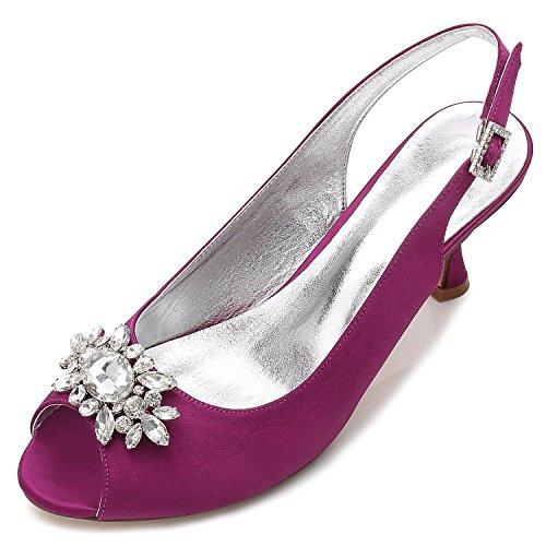 Elegant high shoes Zapatos de Boda de Las Mujeres E17061-58 Rhinestone con el Vestido de Las Señoras Zapatos del tribunal del Satén de La Hebilla Purple
