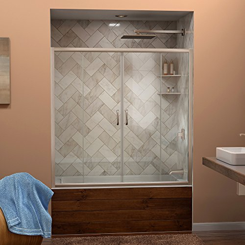 DreamLine Visions 56-60 in. W x 58 in. H Framed Sliding Tub Door in Brushed Nickel, SHDR-1160586-04 by DreamLine