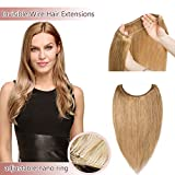 Hidden Invisible Crown Human Hair Extensions One Piece Secret Miracle Wire In Hairpiece With Transparent Fish Line Headband No Clips No Tape For Women #27 Dark Blonde 18'' 65g