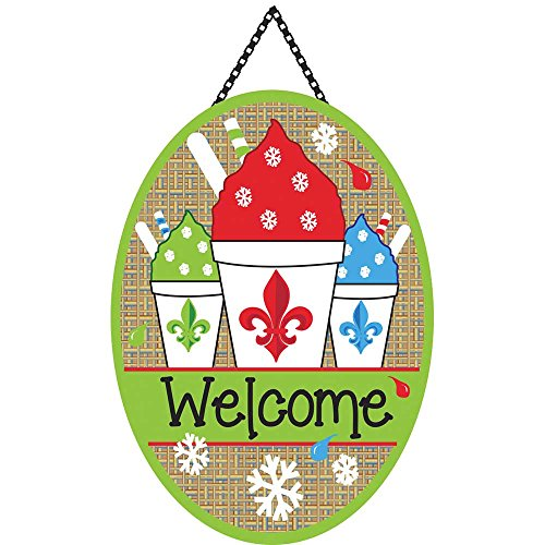Oval Cone Ovals (Welcome Snowcone Fleur de Lis on Burlap 18 x 13 Oval Chain Rope Door Banner)