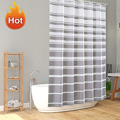 ARICHOMY Bathroom Shower Curtain Set Stripe Fabric with White Gray Pattern, Water-Repellent Classic Shower Curtains, 72 X 72 (Shower Striped Curtain Gray)
