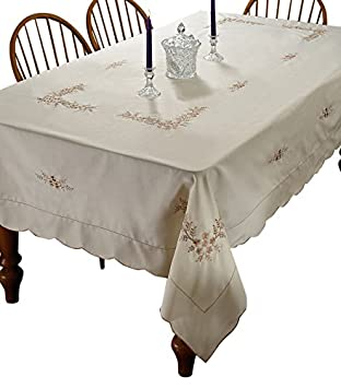 Superbe Blossom Embroidered Vintage Design Tablecloth   Beige 70u0026quot; X 108u0026quot;  ...