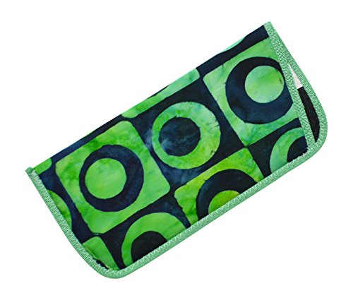 Abstract Bold Pattern Eyeglass Slip Case Green and Navy Tie-Dye Look USA Made