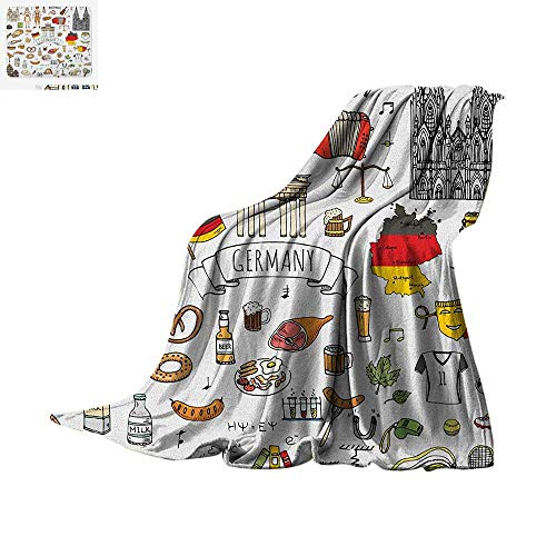 "Luoiaax German Warm Microfiber All Season Blanket Hand Drawn Doodle of German Culture Icons Football Jersey Food Science and Music Summer Quilt Comforter 62""x60"" Multicolor"