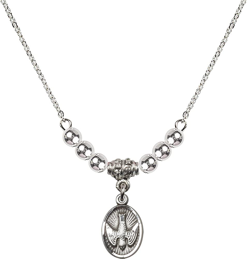 18-Inch Rhodium Plated Necklace with 4mm Sterling Silver Beads and Sterling Silver Holy Spirit Charm.