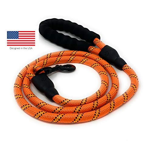 STJ Company Reflective Rope Dog Leash for Large and Medium Breed l 5 Foot Long with Soft Handle l Heavy Duty Rock Climbing Rope with Metal Snap-Bolt (Orange) ()