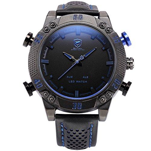 SHARK Men's LED Date Day Alarm Watch, SHARK SPORT WATCH Digital Analog Backlight Dial Quartz Black Leather Band Wrist Watch SH265 Blue, Holiday Gift for Men Wedding -