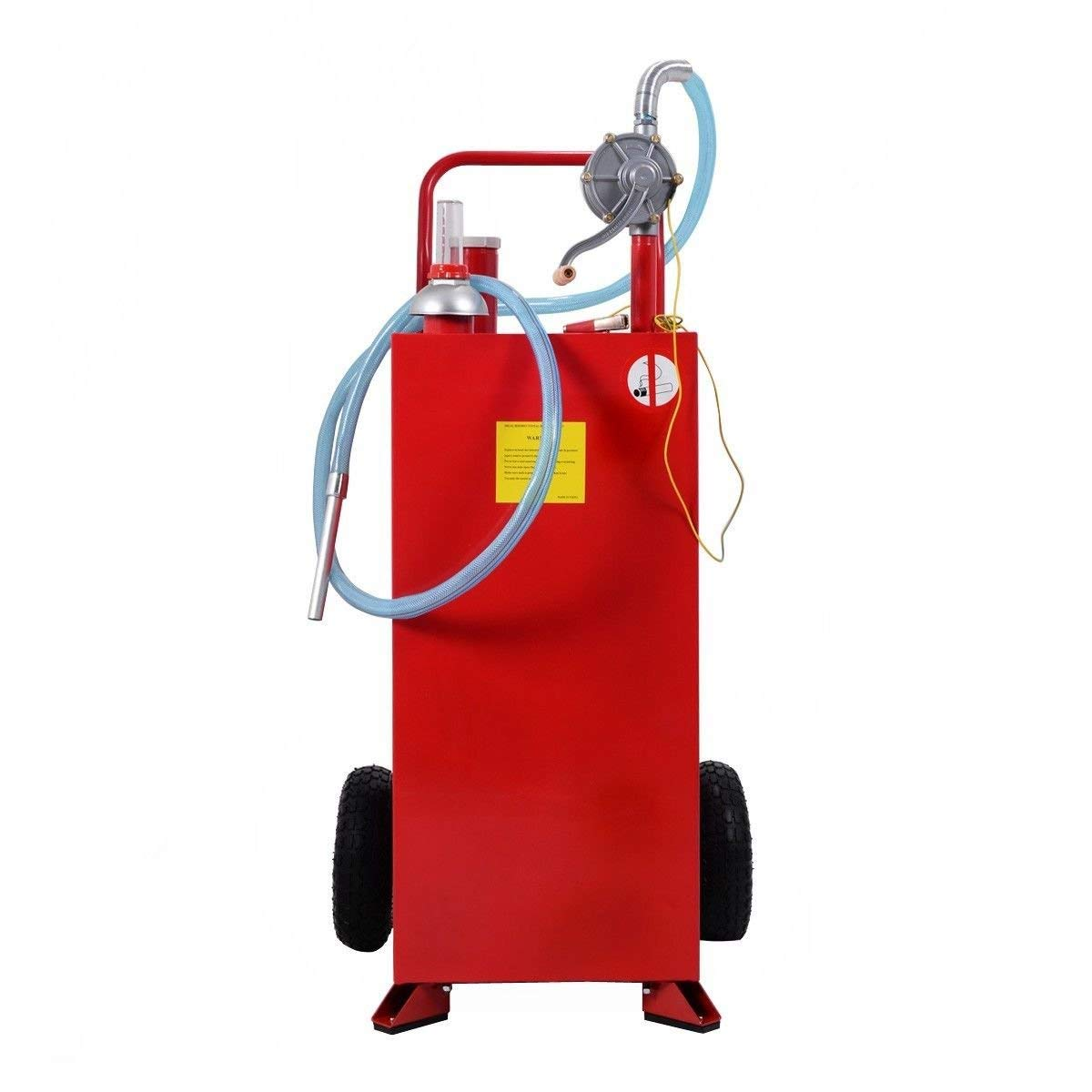 Goplus 30 Gallon Gas Caddy, Fuel Diesel Storage Tank, Rugged Durable Material, Anti-Static Ground Clamp, Labor-Saving Hand Operated Defueling Pump, 8 Feet Discharge Hose Red Caddy (Red) by Goplus (Image #2)
