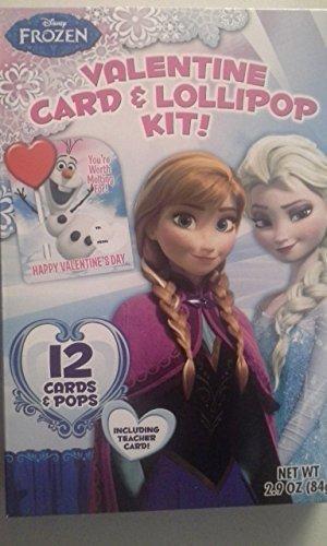 Disney Frozen Valentine Card & Lollipop Kit 12 (Count Lollipops)