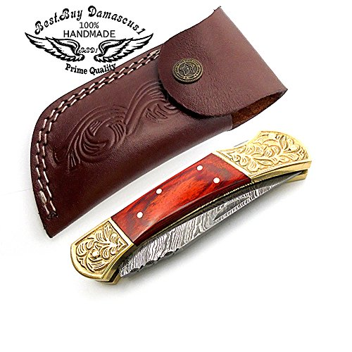 Red Wood Brass Double Bloster Beautiful Screemshw Work 7.6'' Custom Handmade Damascus Steel Back Lock Folding Pocket Knife 100% Prime Quality+ Leather Sheath Case by Best.Buy.Damascus1 (Image #7)