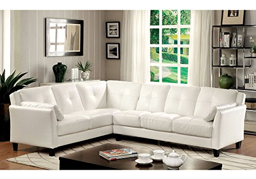 1PerfectChoice Peever Living Room Sectional Sofa L-Shaped Tufted Cushion White Leatherette