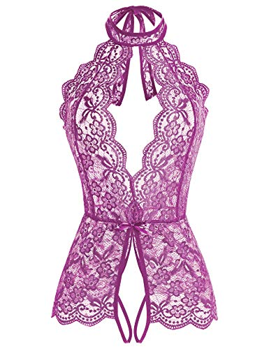Ababoon Women One Piece Lingerie Lace Sexy Baby Dolls Teddy Sleepwear for Sex (XL, Purple)