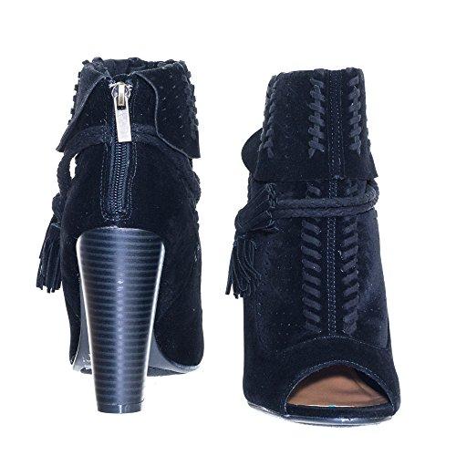 Heel Black w Ankle Tassel Bamboo Toe Block Top Peep Braided Detail Folded Bootie wS74AI