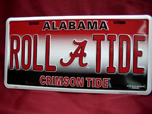 Alabama Roll A Tide Crimson Tide Football Fan License Plate Car Tag Sign