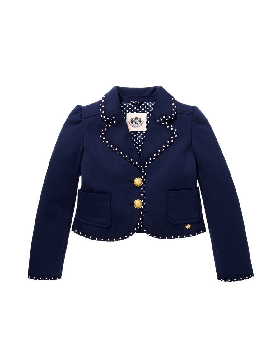 Juicy Couture Girls Solid Ponte Polka Dot Trim, Regal Blue Jacket. (4-5/S) by Juicy Couture