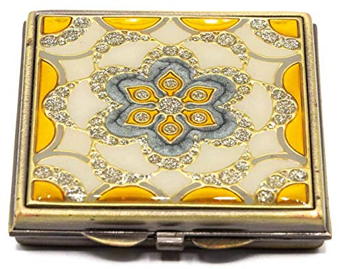 Yellow Mosaic Folding Compact Pocket Makeup Mirror With Swarovski Rhinestone Crystals Double Sided (5x + 1x magnification)