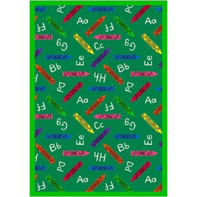 Joy Carpets Playful Patterns Children's Crayons Area Rug, Green, 7'8