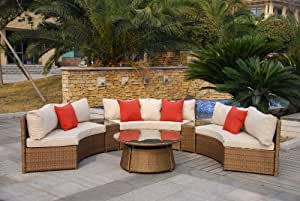 Superb Casamore Rio 6 Seater Half Moon Sofa Set in Bronze Weave Rattan Garden Conservatory Set