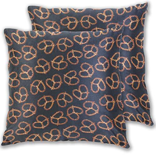 Gaz X All Over Pretzels On Black Velvet Soft Decorative Square Throw Pillow Covers Set Cushion Case Sofa Bedroom Car 18 x 18 inch Set of -