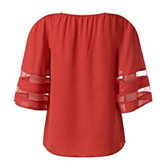 VECDY Blusas Mujer Verano Elegantes, Color Solido Tops ...
