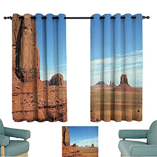 DILITECK Windshield Curtain American Decor Scenic View of Monument Valley Sandstone Butte Rocks Wild West Desert Landscape Image Light Blocking Drapes with Liner W55 xL63 Cinnamon and Blue