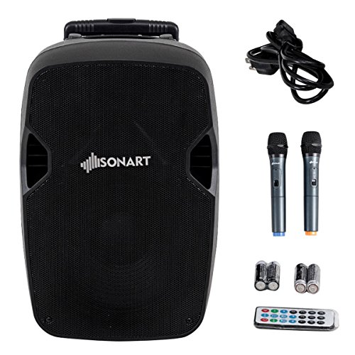 Sonart Powered Speaker, 800W 2-Way Portable Loud Speaker With Wireless Microphone (12