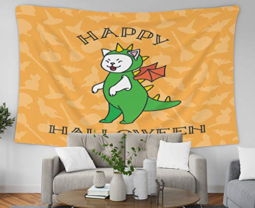 Tapestry Wall Hanging,Musesh Polyster Tapestry Wall Hanging for Bedroom Living Room Decor Inhouse Happy Halloween Funny White Cat Wearing Dragon Costume Orange Background Cats Witch 80x60 Inches Size ()