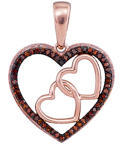 Brandy Diamond Dark Chocolate Brown 10k Rose Gold Beautiful Heart Necklace Pendant 1/6 Ctw. (Diamond Tdw Brown Necklace)