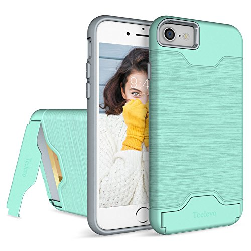 iPhone 7 Case, Teelevo [Card Slot Holder] Dual Layer Shock Absorption Protective with Credit Card Slot and Kickstand Wallet Case Heavy Duty Bumper for Apple iPhone 7 (2016) - Mint Green