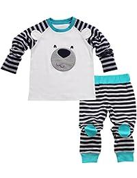bebé recién nacido niño oso Juego de playera parte superior + Pants Trajes a rayas Impreso Ropa Infantil (