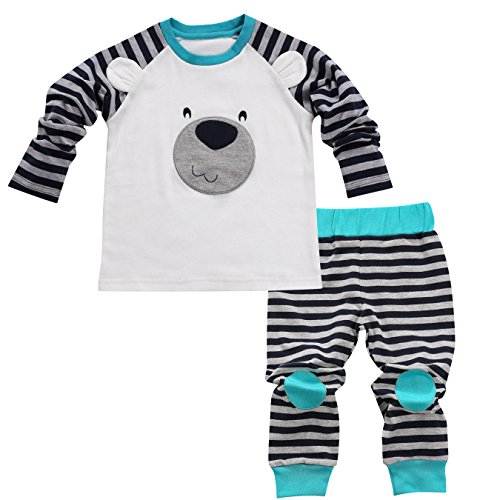 Aikobaby Newborn Baby Boy Bear Printed T-shirt Top + Striped Pants Outfits Set Kids Clothes (18-24M, Blue)
