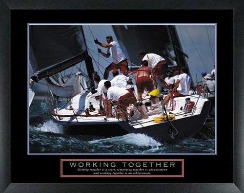 Set of 6 Framed Motivational Posters Complete Office Decor Teamwork Sports