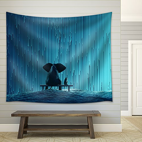 elephant and dog looking at star Rain Fabric Wall
